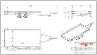 Respo Autoveotreiler 4.00x1.82m 2000kg - poordiga 0.22m